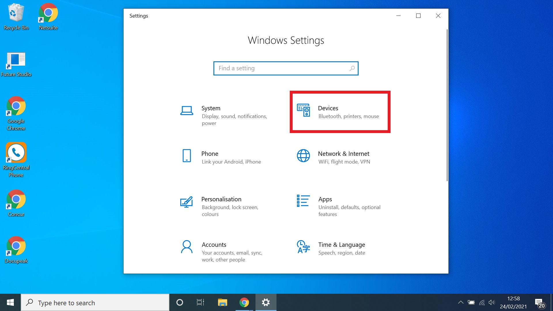 cara mengaktifkan bluetooth untuk windows 10 - pilih perangkat