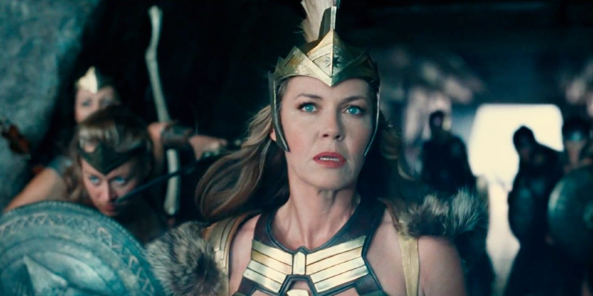 Justice League Hippolyta in full armor, with her fellow Amazonians