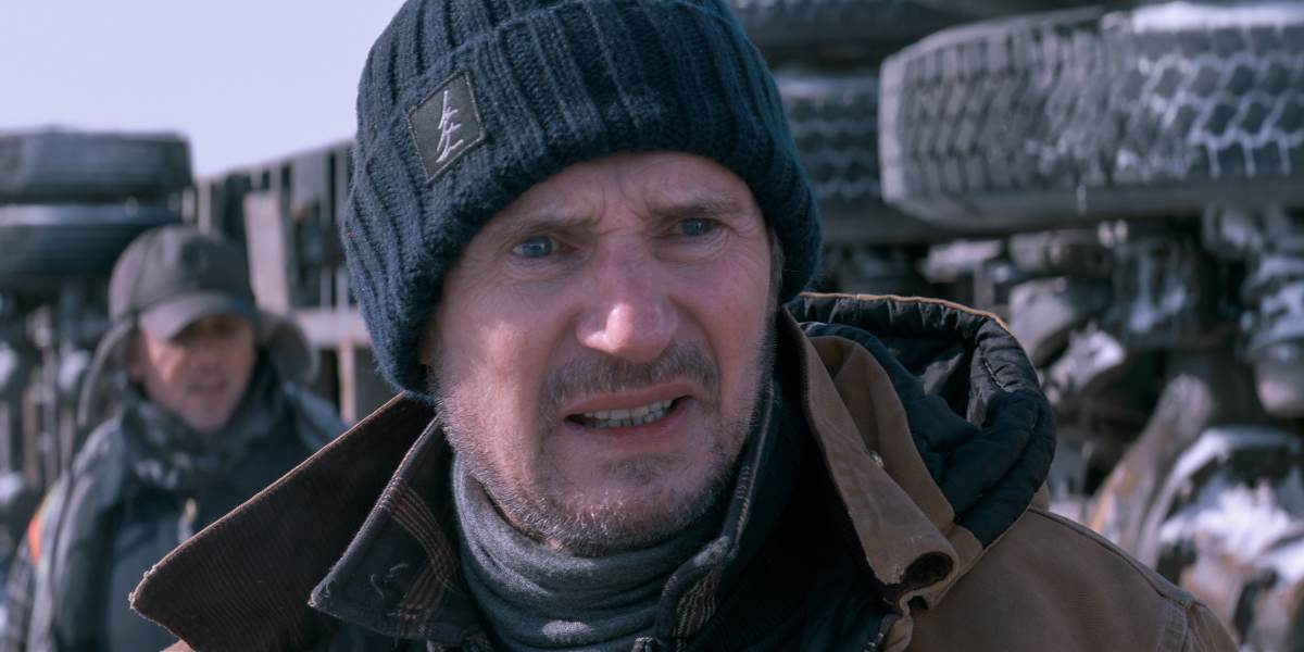 Liam Neeson bundled up, and looking angry, in The Ice Road.