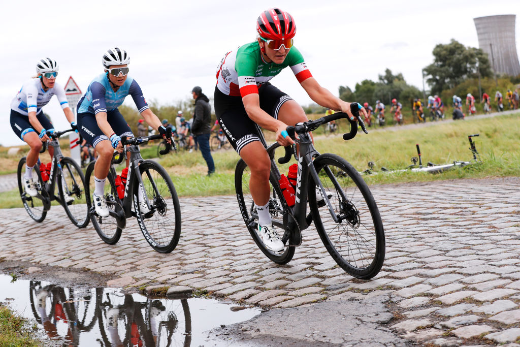 ROUBAIX FRANCE OCTOBER 02 LR Audrey CordonRagot of France and Elisa Longo Borghini of Italy and Team Trek Segafredo compete through Hornaing Wandignies cobblestones sector during the 1st ParisRoubaix 2021 Womens Elite a 1164km race from Denain to Roubaix ParisRoubaixFemmes ParisRoubaix on October 02 2021 in Roubaix France Photo by Bas CzerwinskiGetty Images