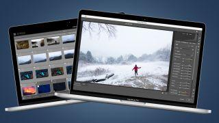 Two MacBooks showing Photoshop vs Lightroom