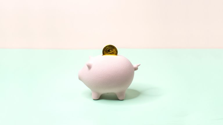 Minimalist one pastel colour piggy bank