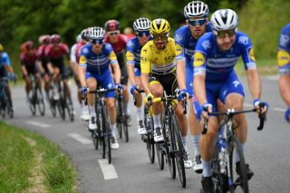 BAGNERESDEBIGORRE FRANCE JULY 18 Julian Alaphilippe of France and Team Deceuninck QuickStep Yellow Leader Jersey during the 106th Tour de France 2019 Stage 12 a 2095km stage from Toulouse to BagnresdeBigorre TDF TDF2019 LeTour on July 18 2019 in BagneresdeBigorre France Photo by Justin SetterfieldGetty Images