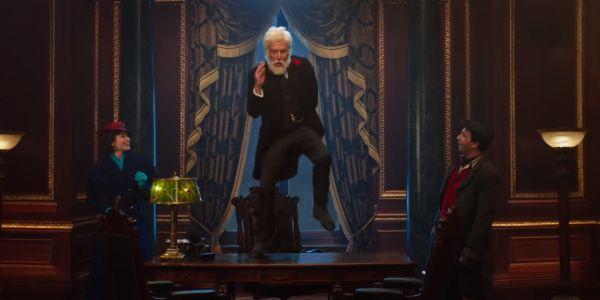 Dick Van Dyke dancing on a desk in Mary Poppins Returns