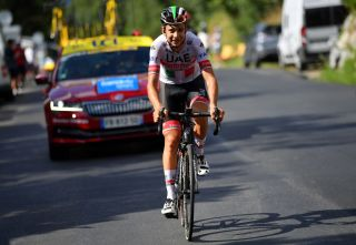 SAINT MARTIN DE BELLEVILLE FRANCE AUGUST 14 Davide Formolo of Italy and Team UAE Team Emirates Breakaway during the 72nd Criterium du Dauphine 2020 Stage 3 a 157km stage from Corenc to Saint Martin de Belleville 1419m dauphine Dauphin on August 14 2020 in Saint Martin de Belleville France Photo by Justin SetterfieldGetty Images