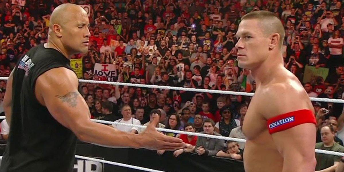 John Cena and The Rock on Monday Night Raw