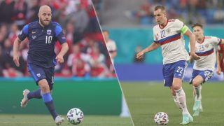 Finland vs Russia live stream at Euro 2020 — Teemu Pukki of Finland and Artyom Dzyuba of Russia