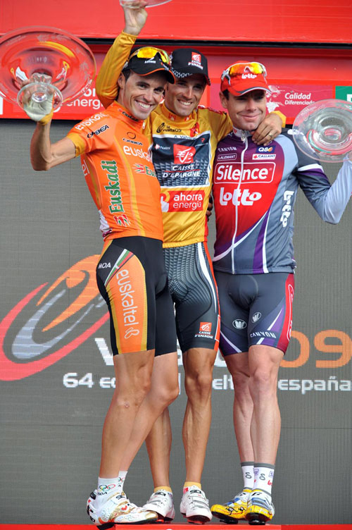 Sanchez, Valverde, Evans on final podium, Vuelta a Espana 2009, stage 21