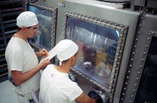 Lab technicians study mice that were injected with lunar material collected during Apollo 11 in a photo taken in August 1969.