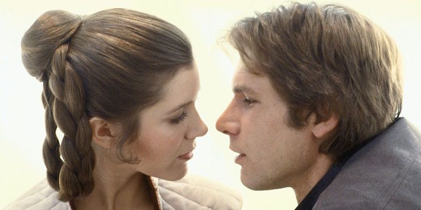Carrie Fisher and Harrison Ford as Princess Leia and Han Solo