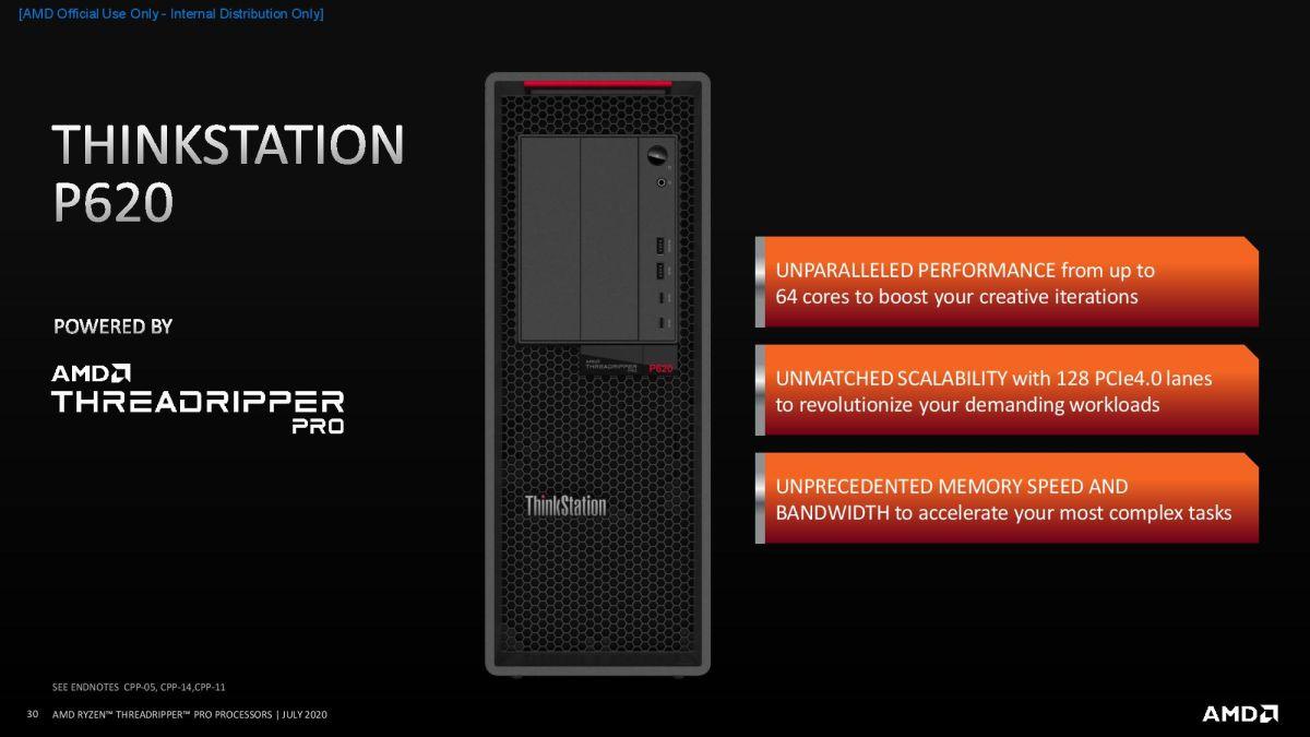 Amd S Xeon W Killing 64 Core Threadripper Pro Lands In Lenovo Thinkstation P620 Tom S Hardware