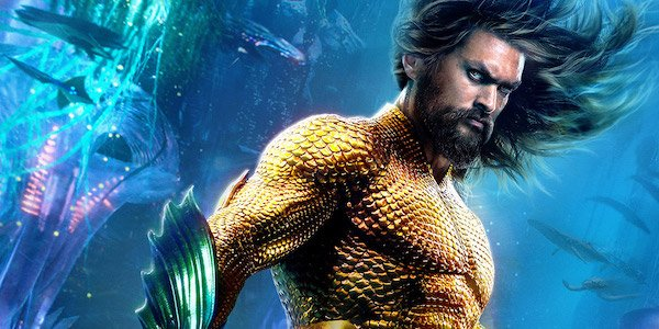 Jason Momoa in classic Aquaman costume underwater in 2018 film