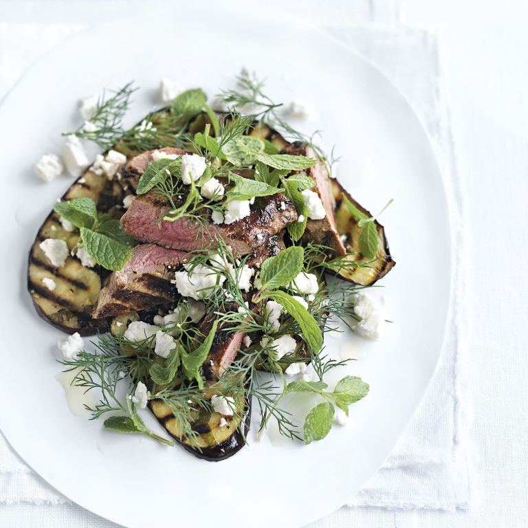 Grilled Lamb and Aubergine with Mint and Feta Salad photo