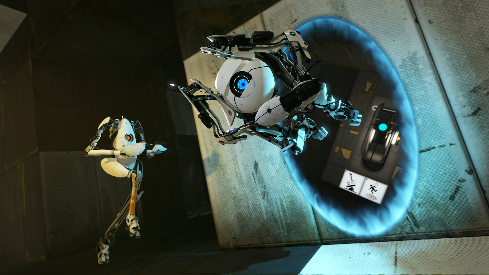 Portal 2: A robot being shot out of a portal while another robot sits there and watches