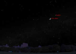 Jupiter will shine near the moon the night of Sunday, April 6, 2014. This sky map shows the location of Jupiter and the moon in the southwestern sky at 11 p.m. local time, as viewed from mid-northern latitudes.