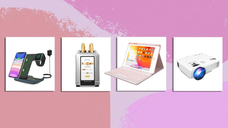 A selection of items inspired from tiktok trends from left to right a projector, smart toaster, laptop stand and charging station