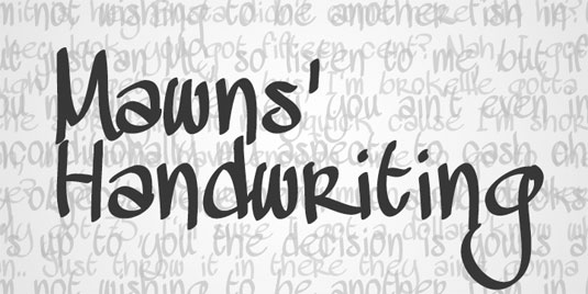 Free handwriting fonts: Mawns' Handwriting