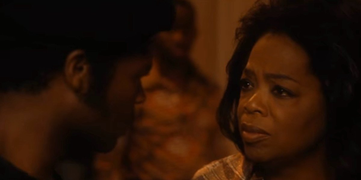 Oprah Winfrey and David Oyelowo as Gloira and Louis Gaines sharing an intense moment in The Butler