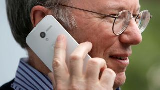 Eric Schmidt can't talk about but can show off Moto X Phone