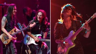 (from left) Nuno Bettencourt, Steve Vai and Yvette Young