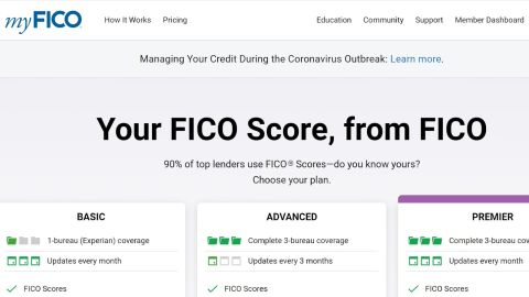 MyFICO's homepage