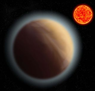 Planet in foreground with hazy atmosphere bordering it with red star in background