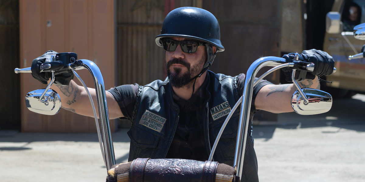 mayans m.c. angel on motorcycle