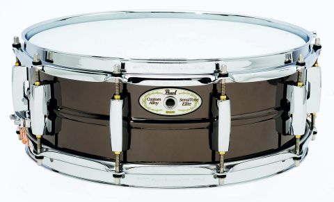 The brass snare has a timeless finish.