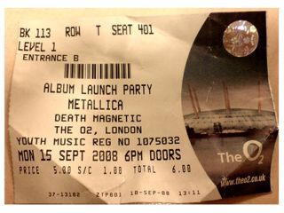Tickets for the Death Magnetic launch party proved to be £5 well spent!