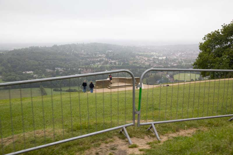 box hill, barriers, fences, olympic test event, 2011