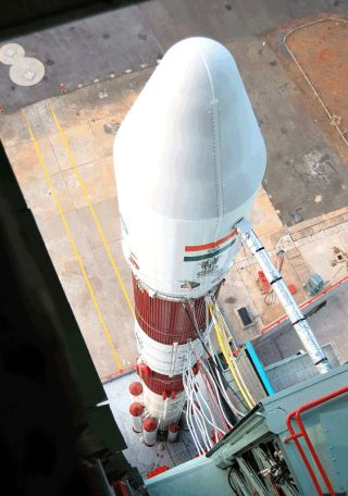 View of the Indian PSLV-C16 rocket from the top of Mobile Service Tower.