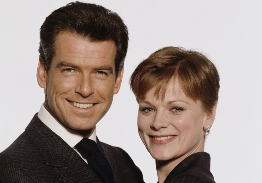 Samantha Bond, who will guest star in Death in Paradise, with Pierce Brosnan for the James Bond film The World's Not Enough