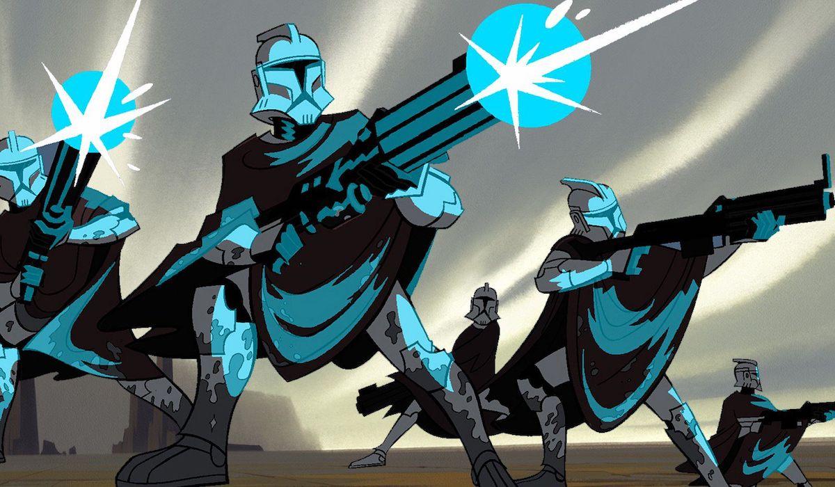 Clone troopers firing blasters