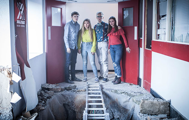 The 6th formers get caught up in the explosion and Peri Lomax, Lily Drinkwell, Tom Cunningham and Alfie Nightingale are scared when the floor falls through and they can't get out in Hollyoaks.