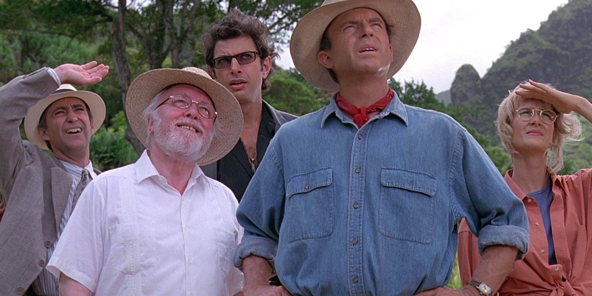 Martin Ferrero, Richard Attenborough, Jeff Goldblum, Sam Neill, and Laura Dern in Jurassic Park