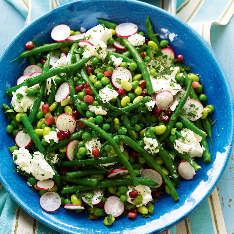 Mixed bean Salad with Radish, Pomegranate and Fresh Goats' Cheese recipe-new recipes-woman and home