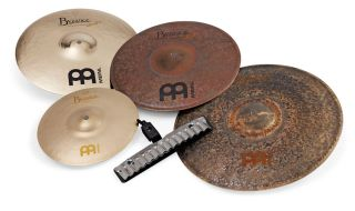 """These 14"""" hi-hats (top left and centre) combine a heavy Brilliant cymbal with a slightly thinner unlathed Extra Dry one"""