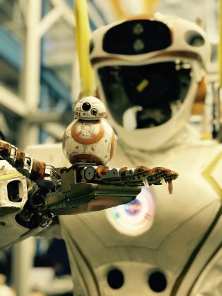 "NASA's Valkyrie robot holds a little ""Star Wars"" BB-8"