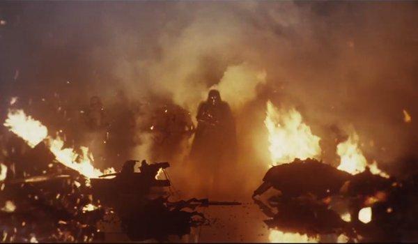 Captain Phasma walks through fire the last jedi