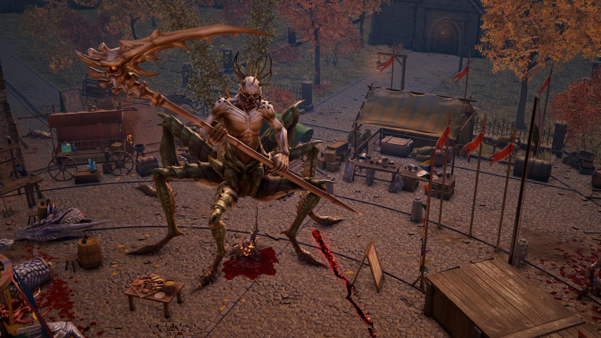A locust demon holding a scythe