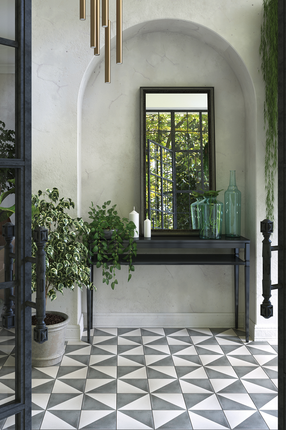 Connect indoor and outdoor spaces with encaustic cement