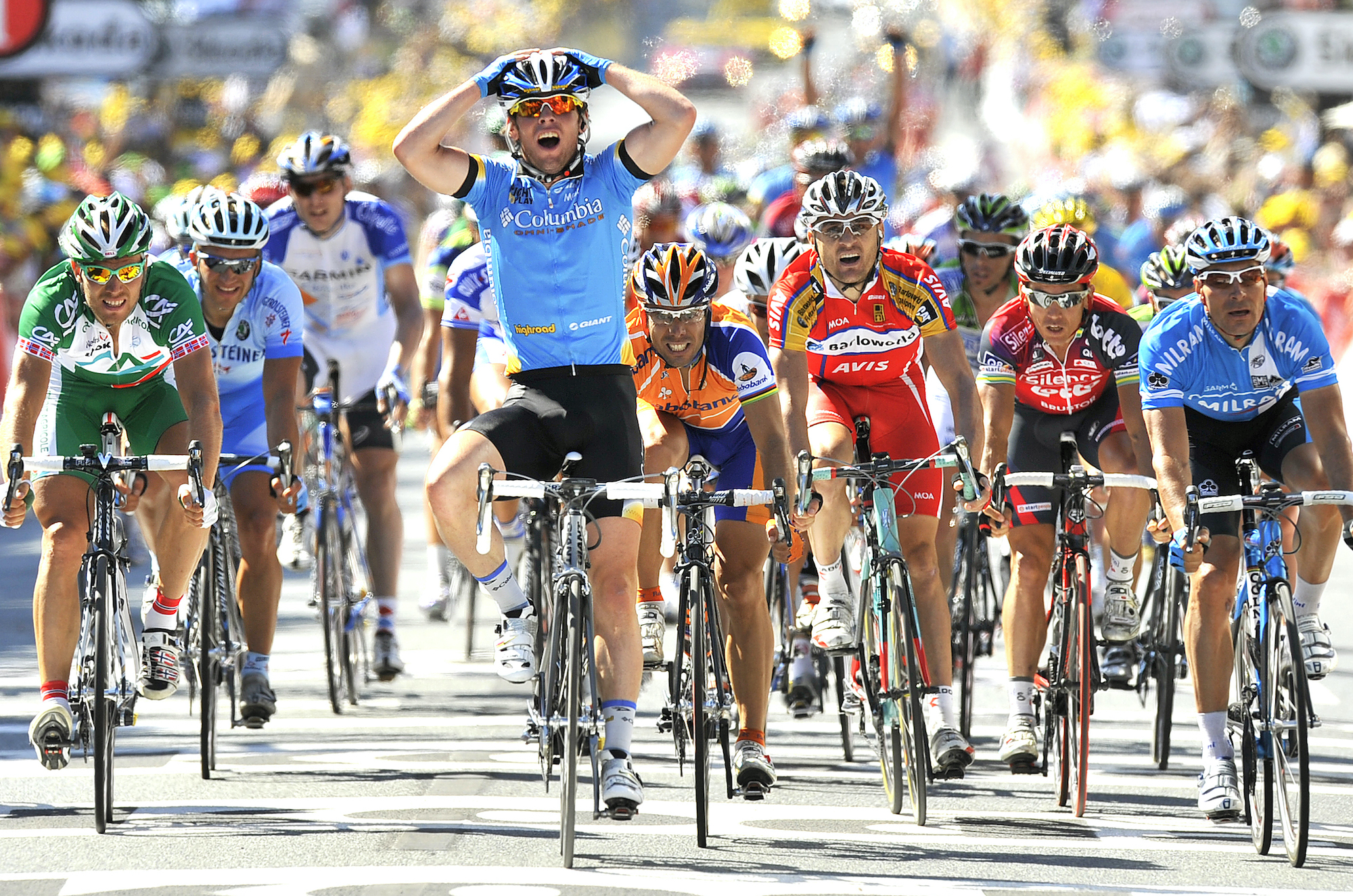 Mark Cavendish wins his first Tour de France stage in 2008