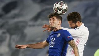 Chelsea's Christian Pulisic, left, and Real Madrid's Nacho Fernandez battle for the ball in their Champions League semifinal first-leg match on April 27, 2021.