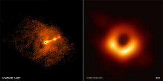 On the left, an image taken using the CHANDRA X-Ray Telescope at the same time as the Event Horizons Telescope made its picture shows a relatavistic jet crossing the Virga A galaxy. On the right is the image of the black hole shadow from the Event Horizon