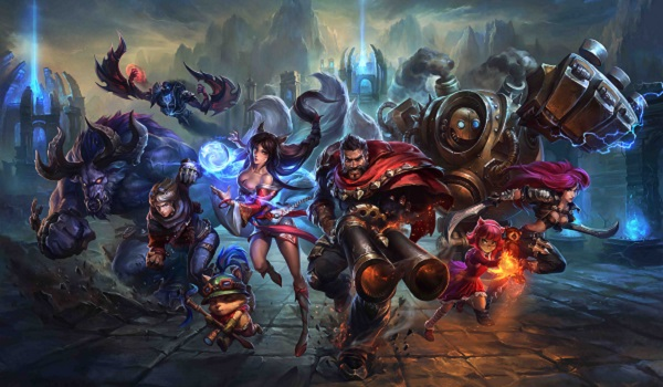 League of Legends heroes charge forward