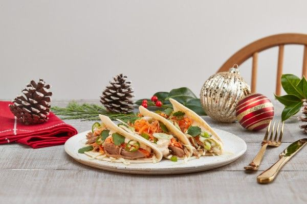 festive turkey tacos on Christmas table
