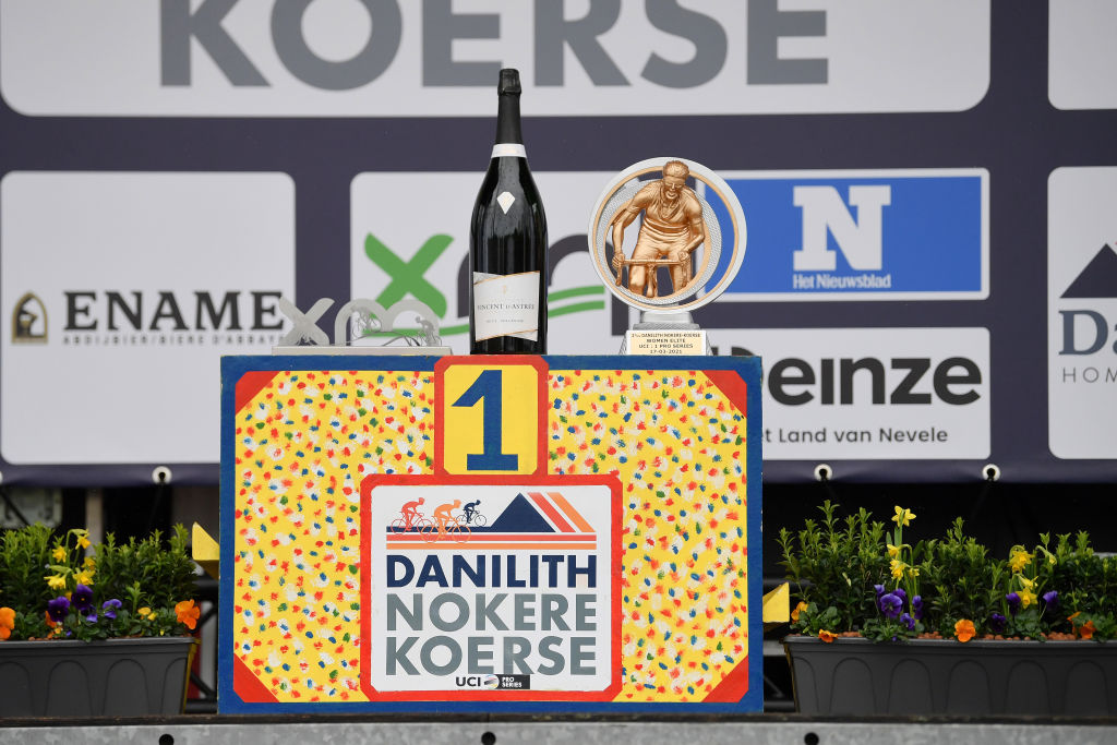 NOKERE BELGIUM MARCH 17 Podium Trophy during the 3rd Nokere Koerse Danilith Classic 2021 Womens Elite a 124km race from Deinze to Nokere Champagne Detail view NokereKoerse on March 17 2021 in Nokere Belgium Photo by Mark Van HeckeGetty Images