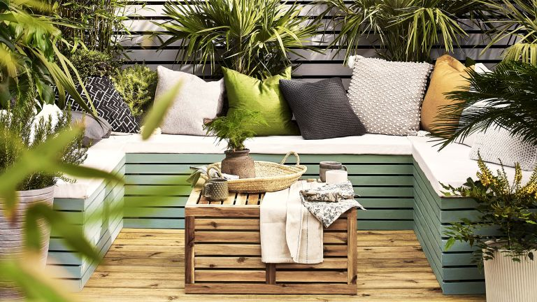 Clean decking with stylish patio bench
