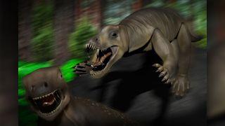 A reconstruction of Anteosaurus attacking an herbivorous Moschognathus.