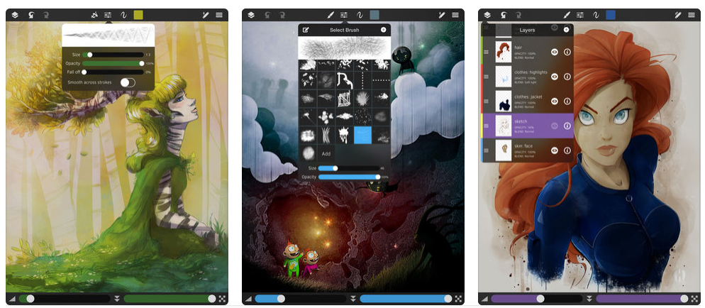 Three illustrations on iPad screens